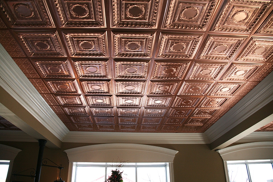Faux Copper Empire Ceiling Tile Used In A Home