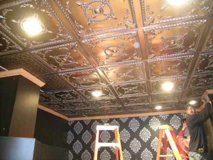 faux pewter tiles installation