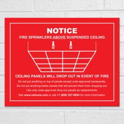 Drop-Out Ceiling Safety Sign Red