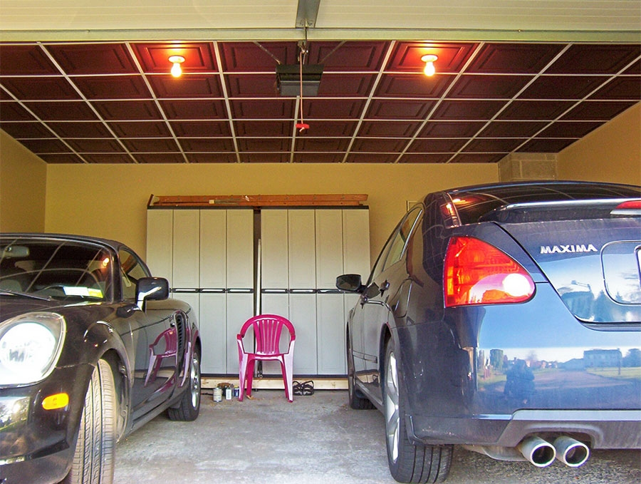 Low profile grid in garage ceilume
