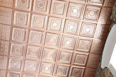 Empire Copper Ceiling Tile in Grid