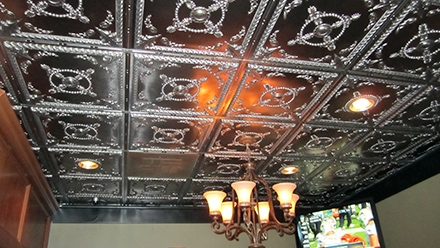 Faux Pewter Ceiling Tile Installation