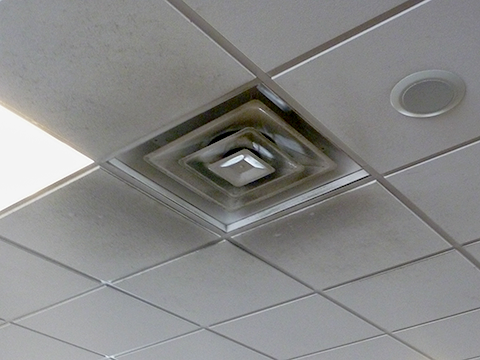 Dirty Mineral Fiber Ceiling Panels