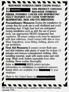 Mineral Fiber Warning Label