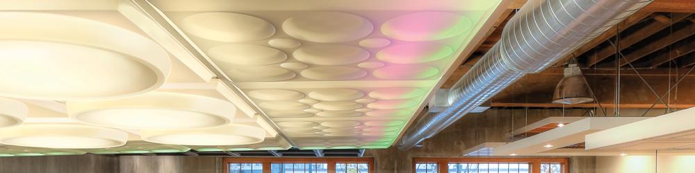 Translucent Panels below Colored LEDs
